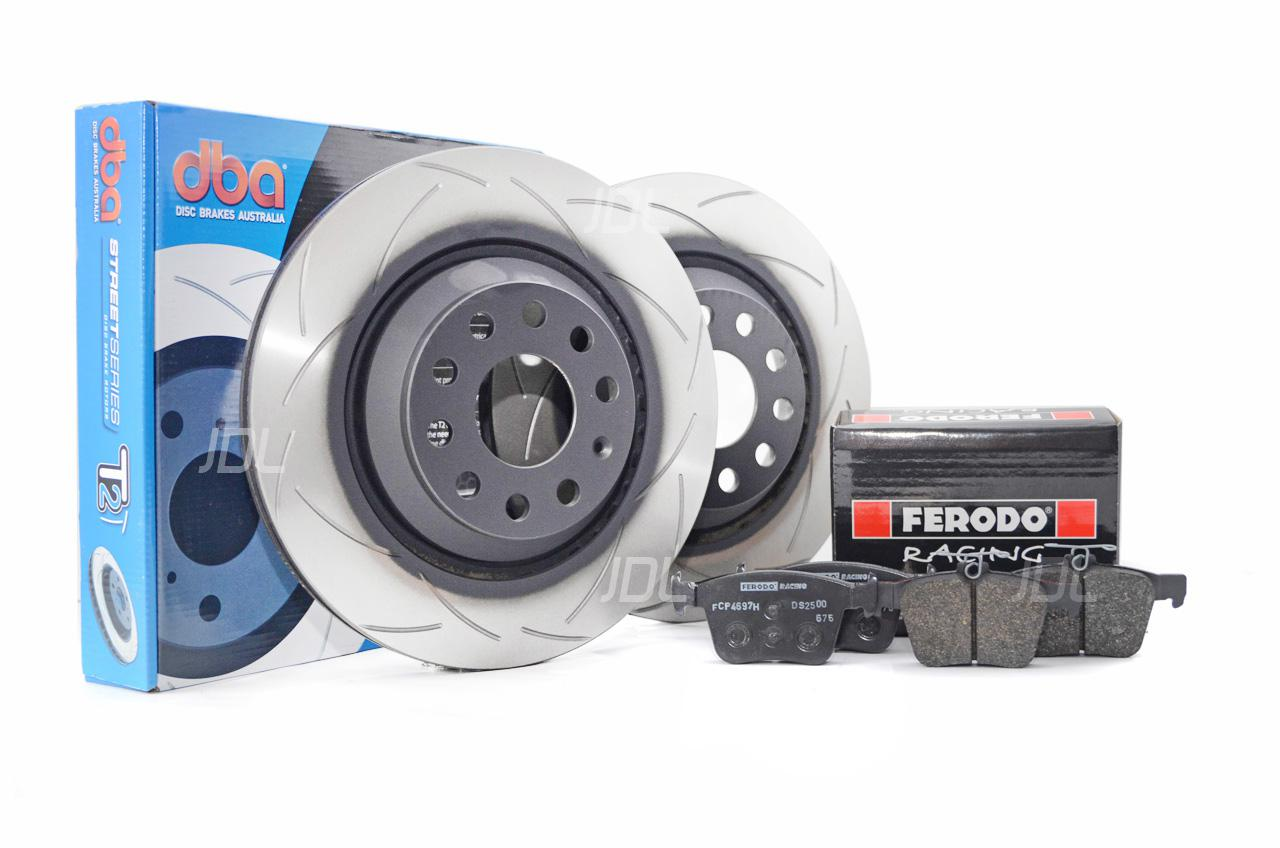 Special package DBA Street T2 rear brake discs and Ferodo DS2500 pads -VW Golf VII R / GTI / Audi RS3 / S3 8V DBA 2809S/FCP4697H
