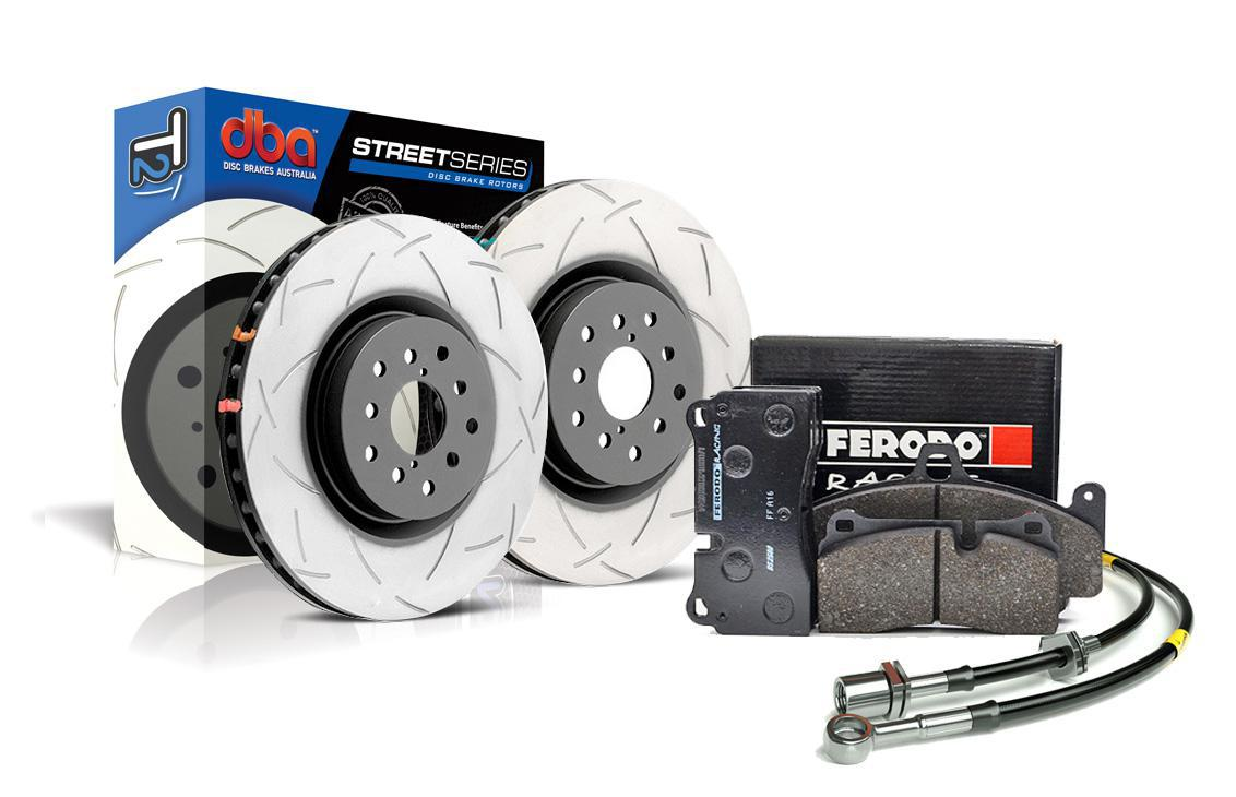 Special package DBA Street T2 front brake discs and Ferodo DS2500 pads - VW Golf VI R / Audi S3 8P 345mm